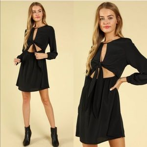 Small black front tie long sleeve dress
